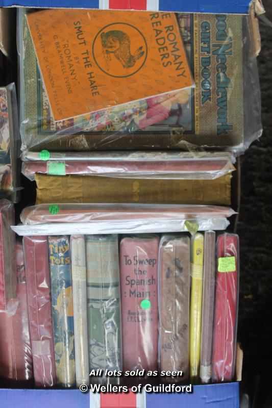 Lot 7378 - Four boxes of vintage children's paperbacks, hardbacks and annuals.