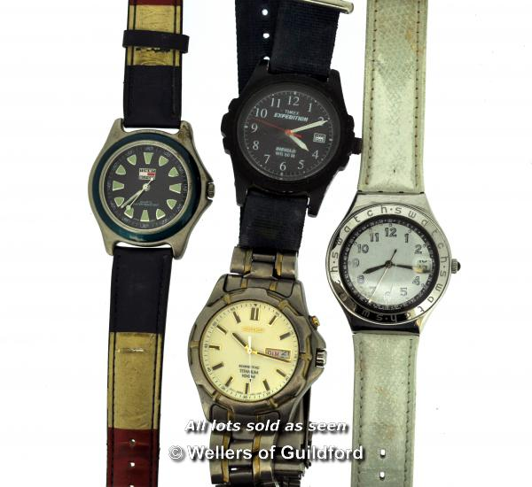 Lot 7024 - Four gentlemen's wristwatches, including a Swatch, Timex, Seiko and Tommy Hilfiger