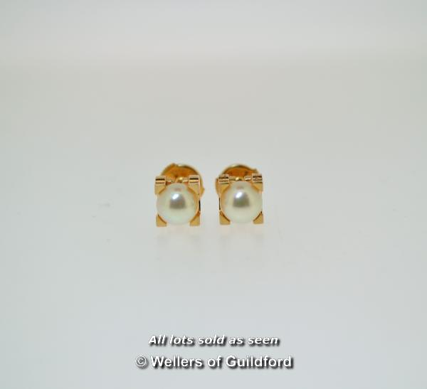 Lot 7068 - *Pair of Cartier Akoya pearl ear studs, 6.6mm pearls mounted in 18ct rose gold, in original box (Lot
