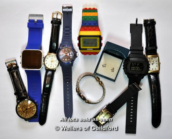 Lot 7045 - Selection of nine mixed wristwatches, and a pair of silver horse design ear studs