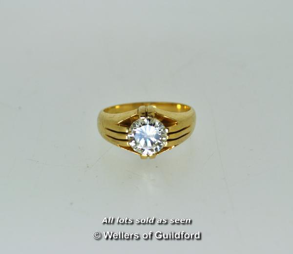 Lot 7003 - Gentlemen's diamond set signet ring, round brilliant cut diamond weighing an estimated 1.77cts,