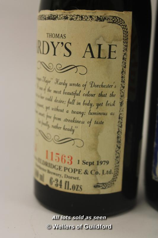 Lot 7440 - *Two bottles of Thomas Hardy Ale 1979 unopened and 1977 Jubilee strong ale (3) (Lot subject to