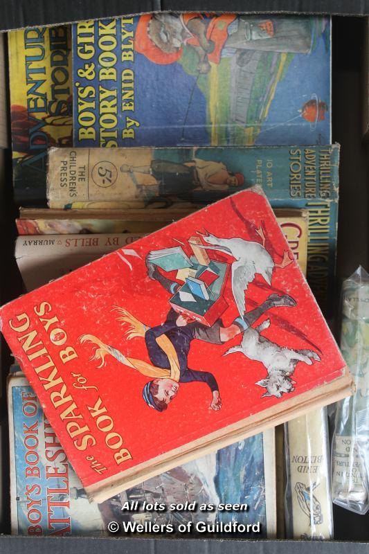 Lot 7377 - Four boxes of vintage children's paperbacks, hardbacks and annuals.