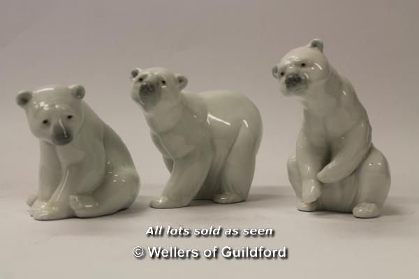 Lot 7278 - Three Ladro polar bear figures, the tallest 11.5cm. (3)