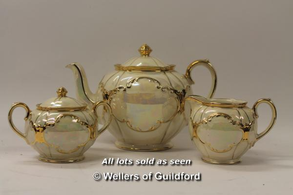 Lot 7470 - *Sadler cream lustre mother of pearl tea set (Lot subject to VAT) (LQD98)