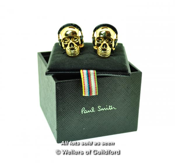 Lot 7033 - Pair of Paul Smith skull design cufflinks, boxed