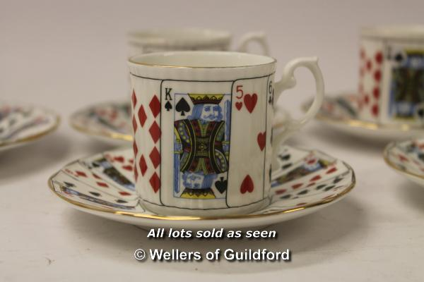 Lot 7305 - Elizabethan China set of four coffee cans, saucers and plates decorated with playing cards.