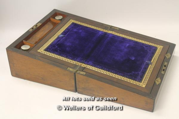 Lot 7495 - *Antique Victorian mahogany writing slope with mother of pearl inlays (Lot subject to VAT) (LQD98)