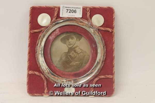 Lot 7206 - *Antique siver and material photo frame, Birmingham 1912 (Lot subject to VAT) (LQD98)