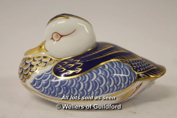 Lot 7333 - Royal Crown Derby duck paperweight with gold stopper.