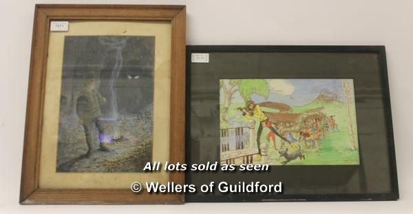 Lot 7271 - Two framed original illustrations to include A WW1 soldier in a cave with sinister eyes in the