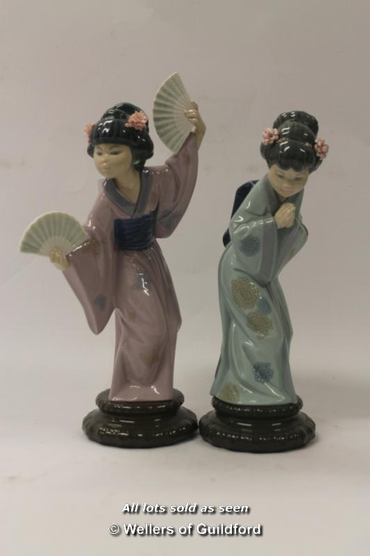 Lot 7281 - Lladro geisha girl with two fans, 30cm; Lladro geisha with hands together (2)