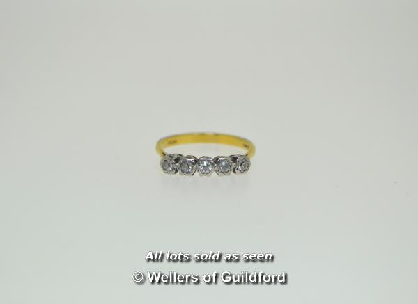 Lot 7001 - Five stone diamond ring, five old cut diamonds illusion set in 18ct white and yellow gold, gross