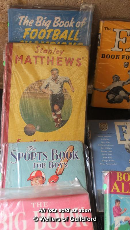 Lot 7379 - Box of sporting annuals and books including football,swimming and cricket.