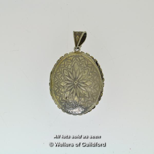Lot 7053 - *Oval antique locket/pendant, painted picture of a lady to the centre, with a surround of turquoise,