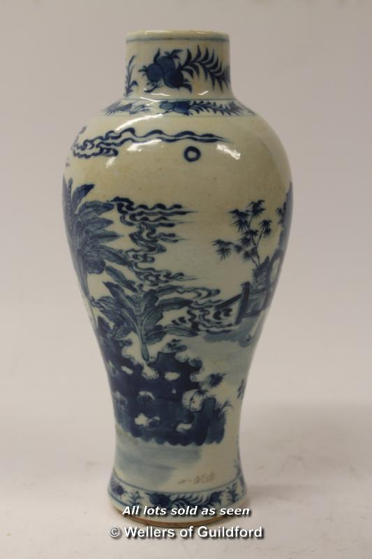 Lot 7246 - A Chinese blue and white baluster vase, 19cm.
