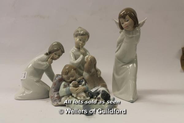 Lot 7283 - Lladro: boy cuddling puppies with spaniel, seated boy with spaniel, girl with shoes, angel (angel