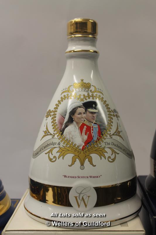 Lot 7482 - Bell's Scotch Whisky: four full commemorative decanters, the Queen's diamond jubilee, the wedding of