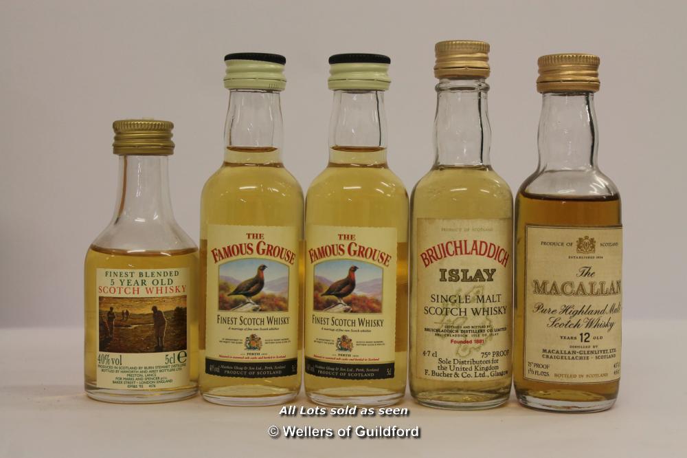 Lot 7305 - Miniature whiskies comprising 14 single malts including Blair Athol, Macallan and Tamdhu, a boxed