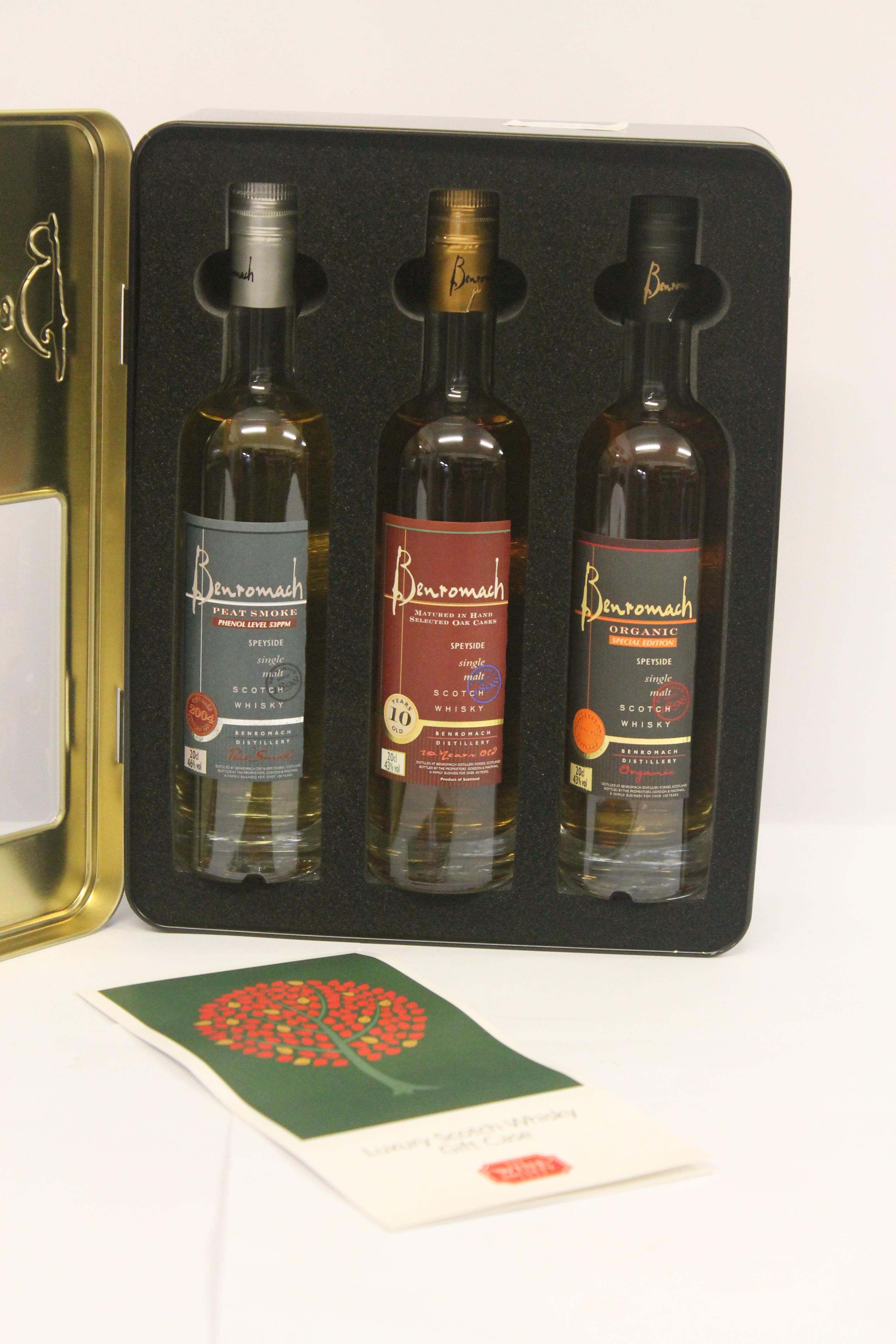 Lot 7385 - Benromach Speyside single malt Scotch whisky gift case containing 3 x 20cl bottles.