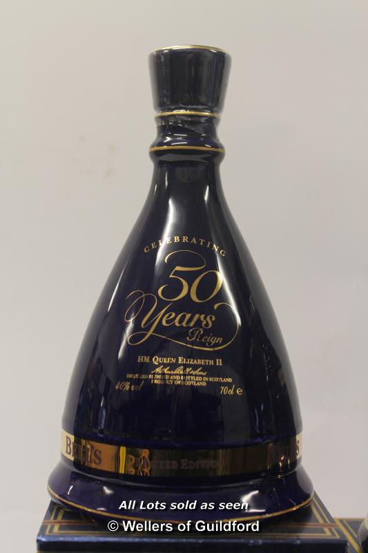 Lot 7483 - Bell's Scotch Whisky: three limited edition commemorative decanters, 50th Wedding Anniversary of the