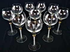 10 teiliger Satz Weißweingläser mit Vergoldung10-piece set of white wine glasses with gilding- - -