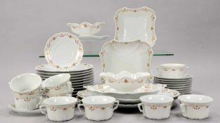 Tirschenreuth, Speiseporzellan, Dekor 'Baronesse', umfassend: 10x Speiseteller, 9x Suppentassen