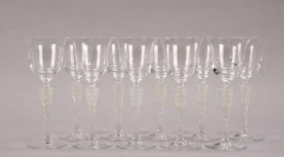 Fabergé, Igor Carl, Satz Weingläser, kelchförmige farblose Kuppa, mit figürlichem Schaft/mattiert (