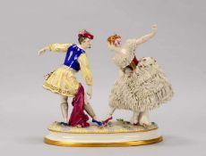 Älteste Volkstedt-Porzellanmanufaktur, große Figurengruppe, 'Tänzerpaar', in gutem bis sehr gutem