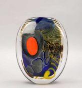 Laurent, E.A., Künstler-Glasvase, querovale Form, Klarglas farbig unterfangen, mit