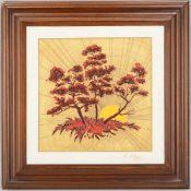 Lorenz Hutschenreuther/Kunstabteilung, Porzellantafel, Motiv 'Sonnenland', in Holz gerahmt, Entwurf: