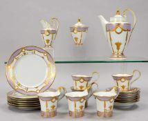 Fürstenberg, Porzellan-Kaffeeservice, in Empire-Form und Dekor, für 6 Personen, umfassend: Kanne,