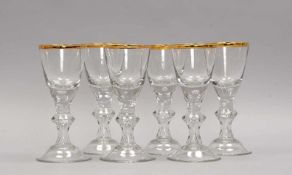Satz Cherry-Gläser, barocke Form/in Lauensteiner Manier, mit eingestochenen Luftblasen und Goldrand,