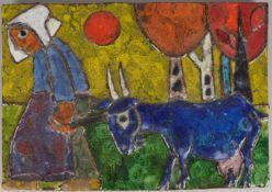 Weichberger, Heide, Künstler-Keramik, 'Bäuerin mit Ziege', farbig glasiert, verso monogrammiert;