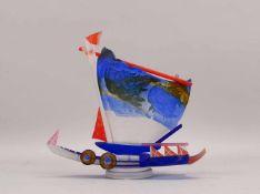 Borowski, Stanislaw (*1944, Montiers/Frankreich), Künstler-Glasobjekt, 'Segelboot', farbloses