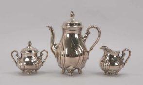 Rosenthal, Kaffeekern, Porzellan mit 1000/1000-Silberauflage; Höhe Kanne 27 cm