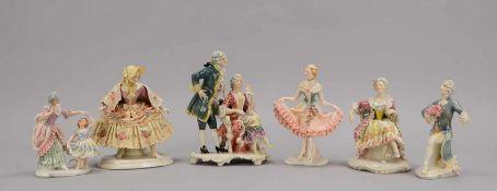 Ens Mühlenmarke, 6 Porzellanfiguren, verschiedene Rokokofiguren, verschiedene Maße
