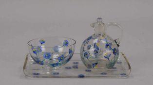 Zucker und Sahne-Set, Glas, handbemalt, auf Tablett; Höhe 9,5 cm