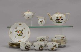 Herend, Teeservice, Dekor 'Rothschild', für 6 Personen, umfassend: Teekanne, Zucker und Sahne, 6x