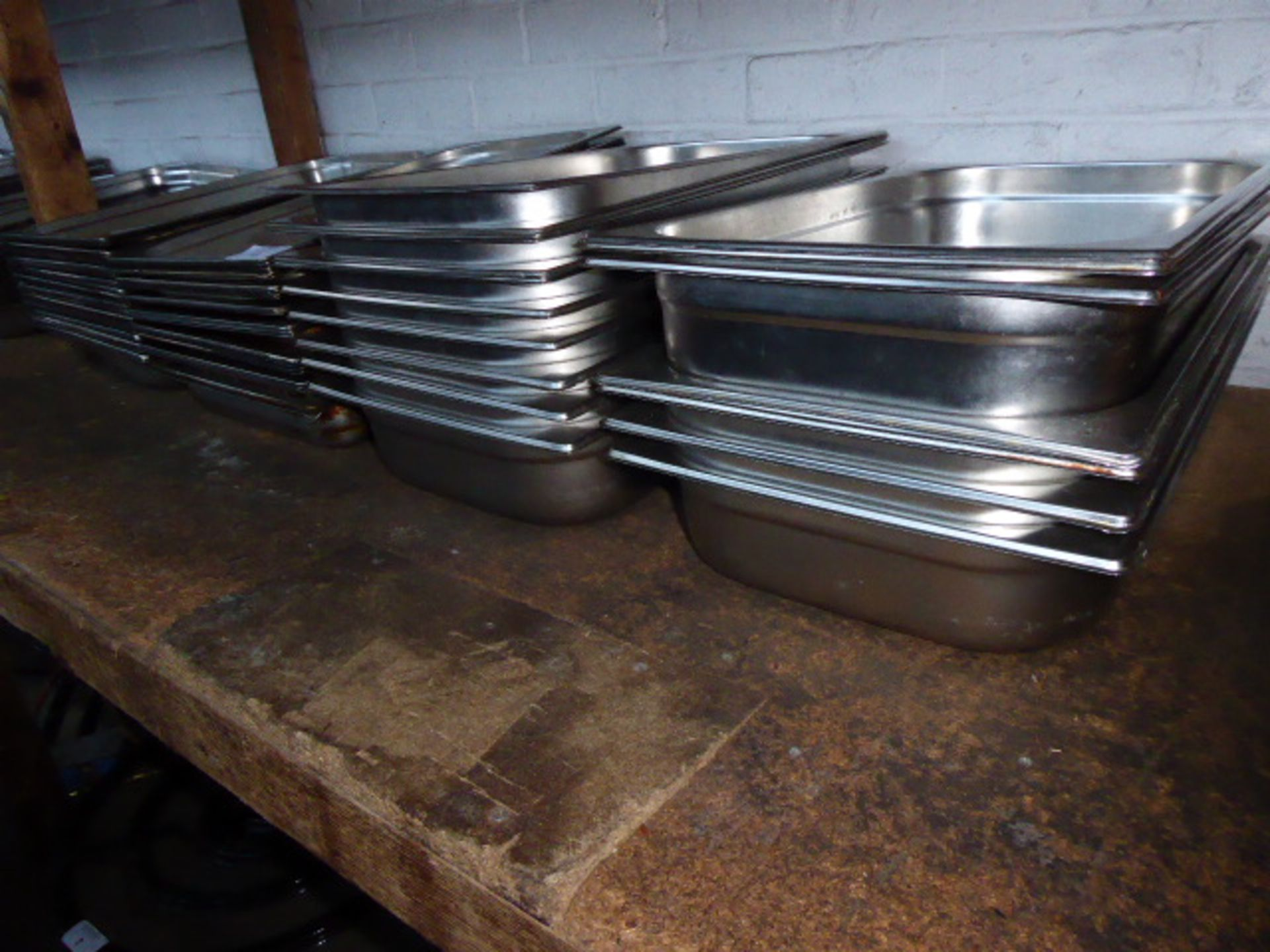 Lot 13 - Approximately sixty stainless steel shallow Gastronorm pans