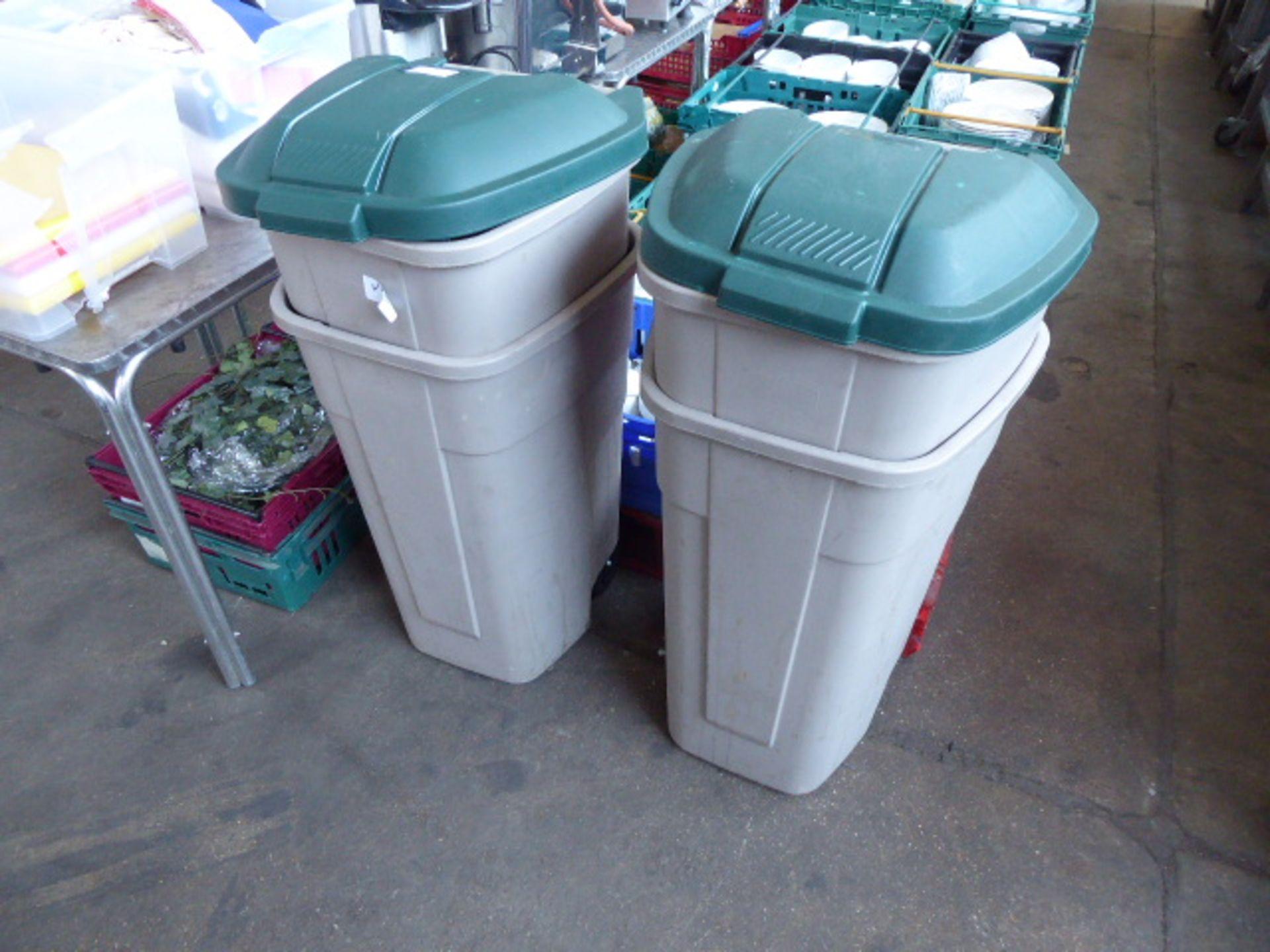 Lot 37 - Four rubber made plastic kitchen wheelie bins