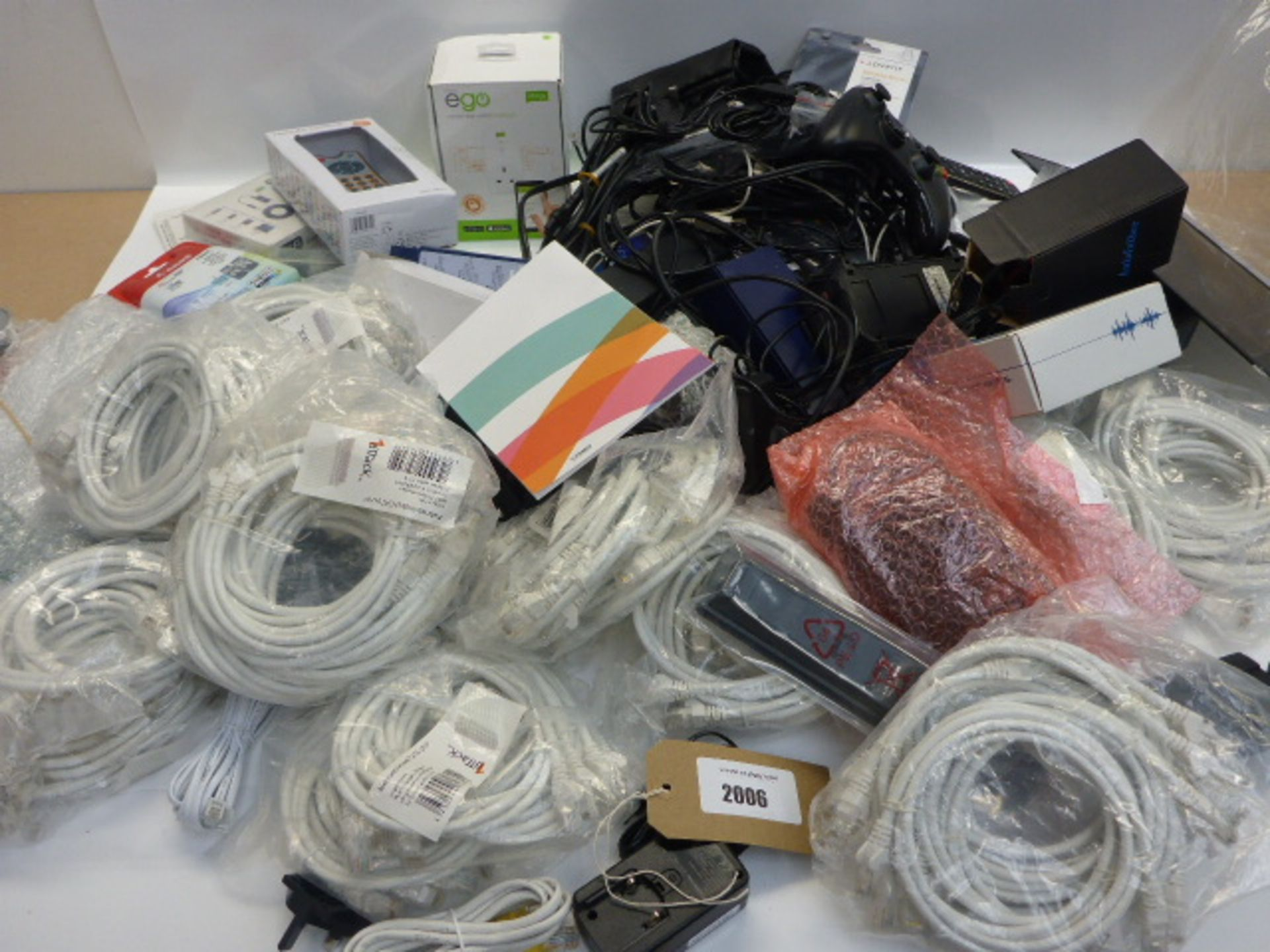 Lot 2006 - Bag containing quantity of electrical accessories; leads, cables, PC mice, adapters, remotes etc