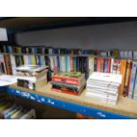 Lot 2030 - Large shelf containing various paperback and hardback novels, autobiographies, etc
