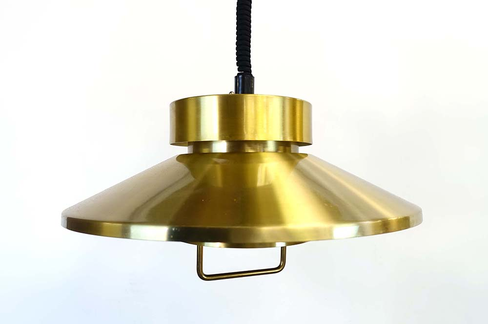 Lot 42 - A Danish brass-finished two-tier pull-down ceiling light by LB CONDITION REPORT: