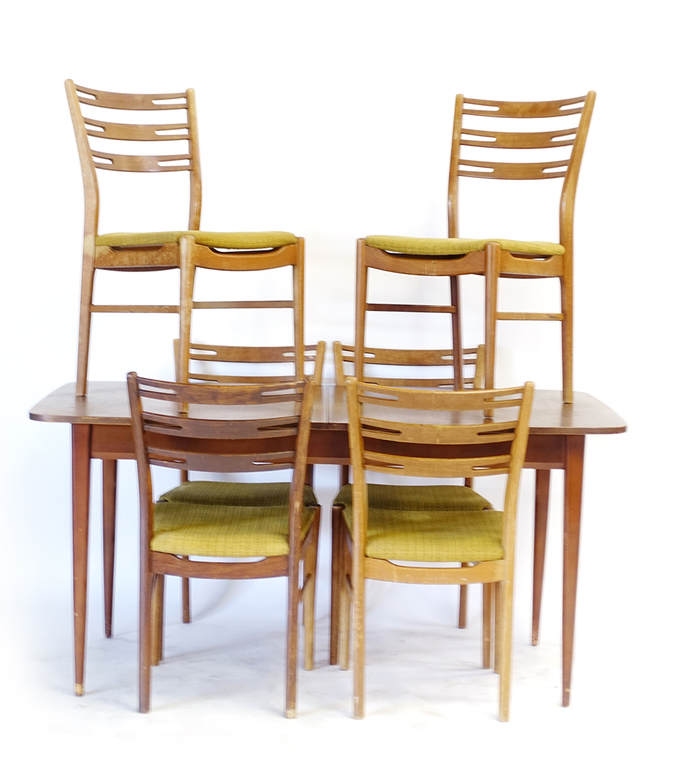 Lot 4 - A set of six 1960's Farstrup beech and upholstered dining chairs,