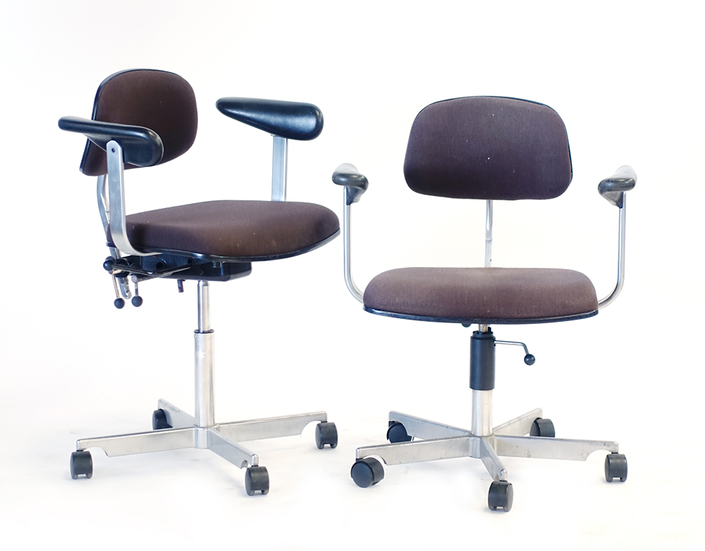 Lot 34 - A pair of Danish adjustable office armchairs on five-star swivel bases with castors,