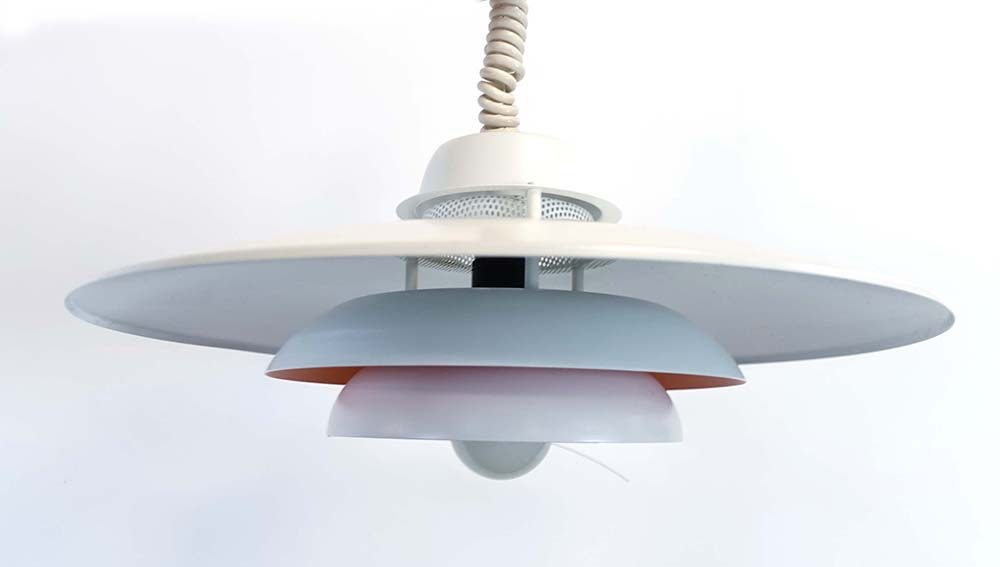 Lot 13 - A Danish JEKA 'Sofie' white and salmon enamelled three-tier ceiling-light with pierce-work inner