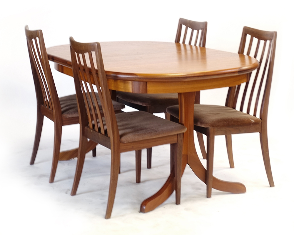 Lot 48 - A set of four G-Plan teak and upholstered dining chairs together with a teak and crossbanded