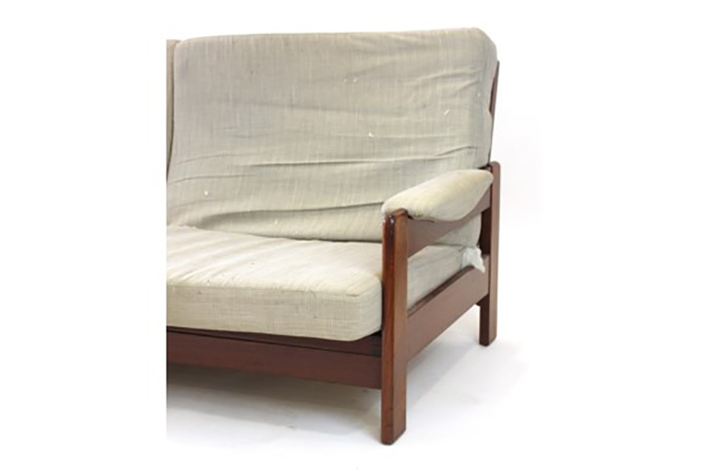 Lot 18 - A 1960/70's teak and upholstered sofa bed by C.D.