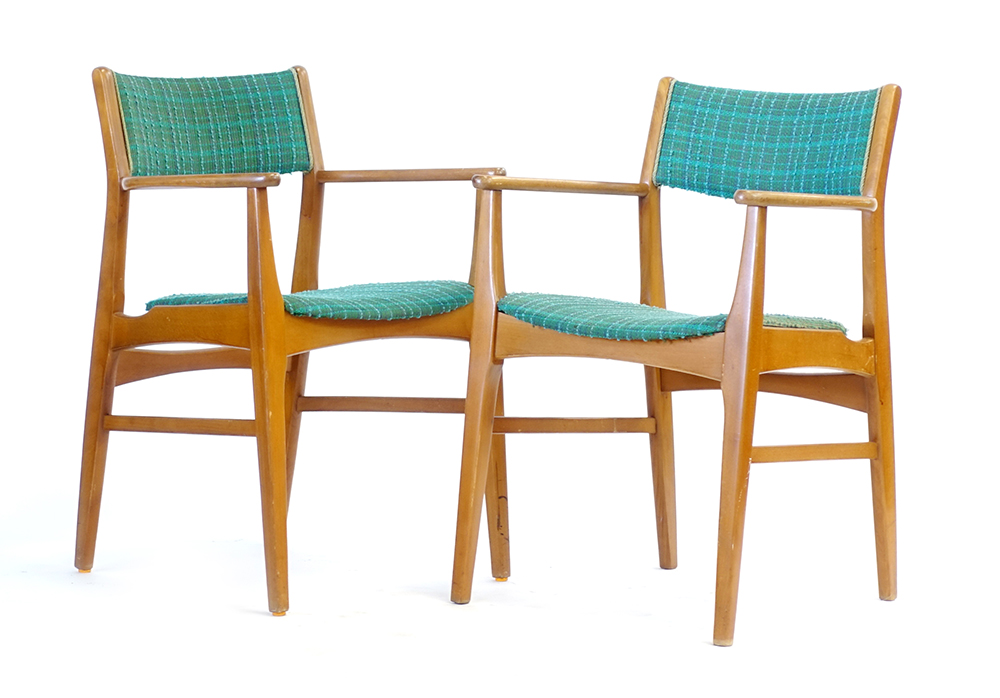 Lot 57 - A pair of 1970's beech and upholstered elbow chairs CONDITION REPORT: Structurally